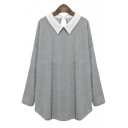 Women's Fashion Contrast Collar Long Sleeve Loose Fit Top