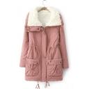 Fall Winter Drawstring Waist Lapel/High Neck Fleece-Lined Coat