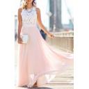 Fashion Sleeveless Lace Chiffon Maxi A-Line Dress Elegant Party Dress