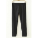 Mid Waist Pleated Pocket Straight Ankle Length Pants