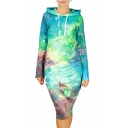 2016 Fall Winter New Galaxy Digital Print Long Sleeve Sweatshirt Dress
