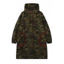 Oversized Hooded Single Breasted Elastic Cuffs Long Sleeve Camouflage Coat with Two Contrast Pockets