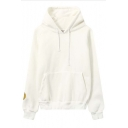 Oversized Hooded Smile Face Print Long Sleeve Hoodie with a kangaroo Pocket
