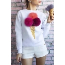 Lovely Ice-Cream Cone with Balls Long Sleeve Pullover Sweatshirt
