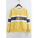 New Arrival Color Block Letter Print Long Sleeve Round Neck Sweatshirt