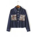 Stylish Color Block Pocket Raw Hem Denim Jacket