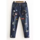 Stylish Letter Patchwork Ripped Cropped Harem Jeans