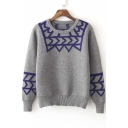 New Stylish Geometric Pattern Color Block Round Neck Long Sleeve Sweater