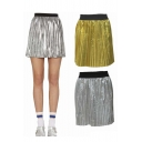 Fashion Elastic Waist Mini Pleated A-Line Dress