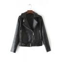 Fall Winter Notched Lapel Zipper Placket Faux Belt Waist Leather Jacket