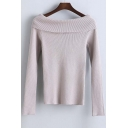 Fashion Slim Boat Neck Long Sleeve Sweater