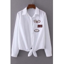 Bow Hem Embroidery Panel Lapel Elastic Back Trim Button Down Shirt with Long Sleeve