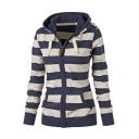 Women Plain Zipper Hoodie Striped Hooded Jacket