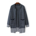 Striped Contrast Trim Cocoon Long Sleeve Cardigan with Two Pockets