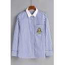 Vertical Striped Contrast Lapel Embroidery Bandage Single Breasted Button Down Shirt with One Pocket