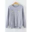 Fashion Cute Cat Letter Embroidered Round Neck Dip Hem Sweater