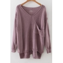 Casual V-neck Drop Sleeve Pocket Front Dip Hem Sweater with Hollow