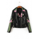 Stylish Floral Embroidery Notched Lapel Zip Up Leather Jacket