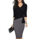 Women's Elegant Patchwork 3/4 Sleeve Wear to Work Bodycon Dress