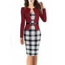 Elegant Women's Colorblock Wear to Work Business Pencil Dress