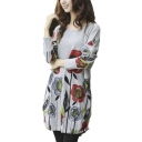 Floral Print Round Neck Basic A-Line Loose Dress