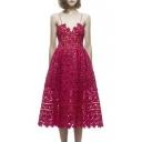 Elegant Lace Crochet Spaghetti Straps Fitted Midi Dress