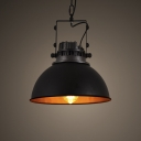 Vintage Style Round 1 Lt Indoor Hanging Pendant in Black Finish