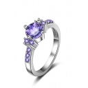 Fashion Noble Purple Zircon Silver Ring