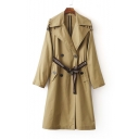 Slim Notched Lapel Double Breasted Belt Waist Long Sleeve Wind Coat