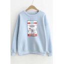Preppy Style Graphic Print Dropped Long Sleeve Pullover Sweatshirt with Round Neck