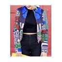 Fall New Print Color Block Zipper Placket Cropped Baseball Jacket