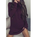 Sexy Plain High Neck Long Sleeve Mini Bodycon Knitted Dress