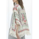 Women Girls Floral Print Loose Kimono Jacket Coat Cardigan Blouses