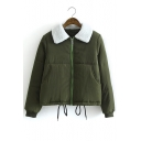 New Wool Lapel Zipper Drawstring Hem Long Sleeve Coat