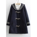 Popular Stripes Trim Horns Button Long Sleeve Coat