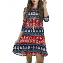 Christmas Print 3/4 Sleeve Asymmetrical Hem A-Line Dress