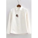 Cute Cat Embroidery Peter-Pan Collar Single Breasted Long Sleeve Shirt
