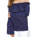 Women's Sexy Off the Shoulder Vertical Striped Blouse with Tiered Bell Sleeve