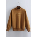 Stylish Loose Letter Print Long Sleeve Mock Neck Pullover Sweatshirt