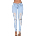 Women's Blue Denim Stretch Jeans Destroy Skinny Ripped Distressed Pants
