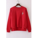 Fox Embroidery Retro Long Sleeve Dipped Hem Pullover Women's Sweater