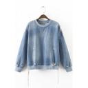 New Zipper Side Contrast Round Neck Ripped Denim Pullover Sweatshirt