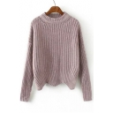 New Style Wave Hem Dropped Long Sleeve Round Neck Sweater