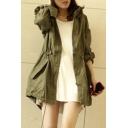 Leisure Girl Army Green Military Parka Button Trench Hooded Coat Jacket