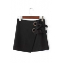 Trendy Metal Rings Bow Front Zip-Back Asymmetric Mini Skirt