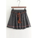 Retro Style Elastic Mid Waist Mini A-line Skirt with Belt