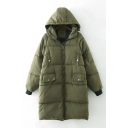 Winter Zipper Detail Long Sleeve Zip Up Hooded Padded Coat