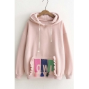 New Style Ruffle Tassel Detail Drawstring Hooded Sweatshirt