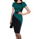 Women's Elegant Color Block Wear to Work Business Stretch Pencil Dress