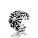 Retro Layered Floral Embellished Open Front Ring for Unisex